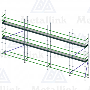 Setup diagram of a two-storey 11m-long scaffold for sale, made of premium ringlock scaffolding.