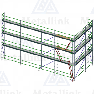 Setup/layout diagram of a three-storey 16m corner ringlock scaffold for sale.