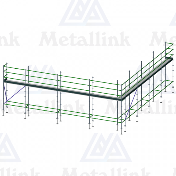 3D model of a 21m ringlock scaffold, perfect for single-storey roof edge protection.