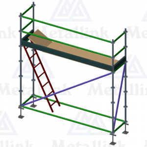 3m Ringlock Scaffold / Scaffolding Package, Single Level, with Hatch & Ladder