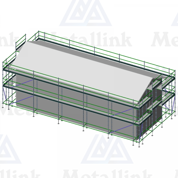Setup diagram of a double-level 42m ringlock scaffold around a house.