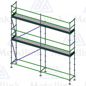Diagram of a two-storey 5m-long ringlock scaffold for sale.