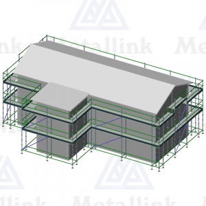 Setup diagram of a 56 lineal meter ringlock scaffolding package around a two-storey building.