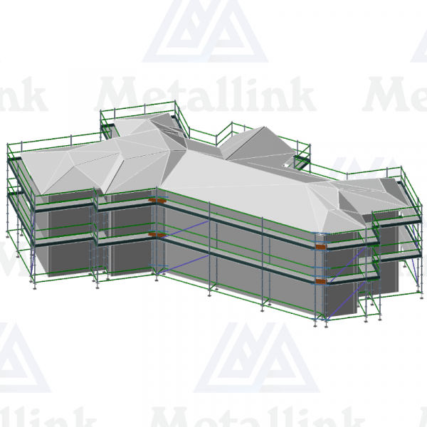 Diagram of a 62m 2-level ringlock scaffolding package for sale in New Zealand.