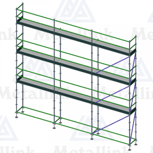 Layout diagram of a 3-storey 7.5m ringlock scaffold for sale.