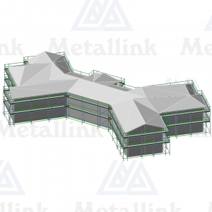 Layout diagram of a 4-in-1 developer's package of ringlock scaffolding for sale in New Zealand.