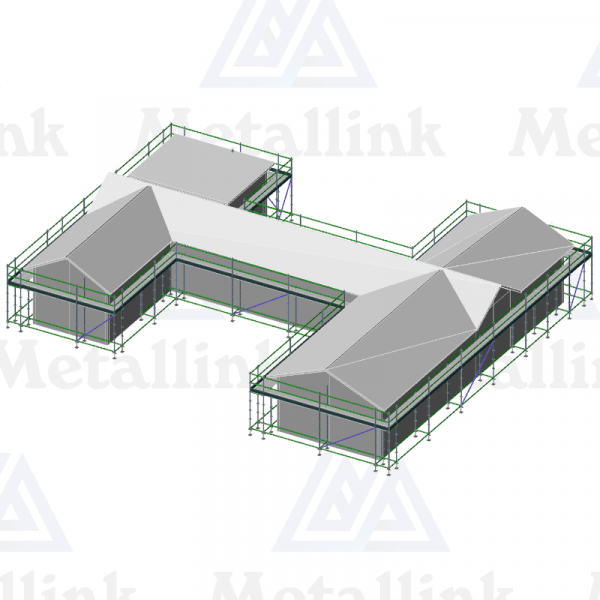Layout diagram of a 105m Developer's Package of ringlock scaffolding around a typical New Zealand house.