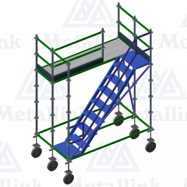 Diagram of a modular ringlock scaffolding mobile platform with staircase.