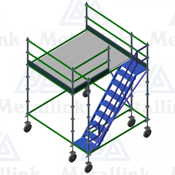 Diagram of a large modular ringlock scaffolding mobile platform with staircase.
